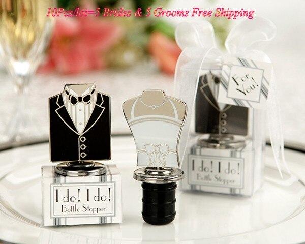 10Pcs lot 5brides and 5grooms Elegant Wedding souvenirs of I Do Bride and Groom Wine