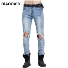 2018 fashion high street men's jeans big motorcycle damage beggar biker casual trousers male denim fabric elastic skinny pants(China)