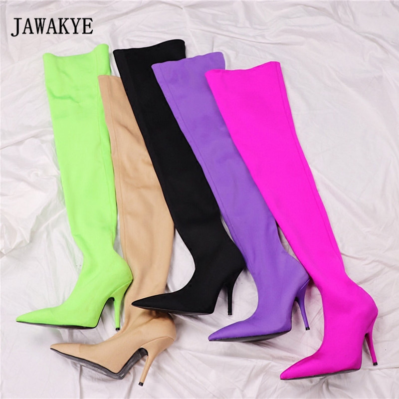 2017 Silk Stretch Purple Over The Knee Boots Women Sexy Pointed Toe High Heel Boots Femme Beige Satin Pink Thigh High Boot Woman