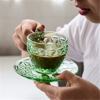 KINGLANG Japanese embossed glass coffee cup and saucer small fresh fruit green set