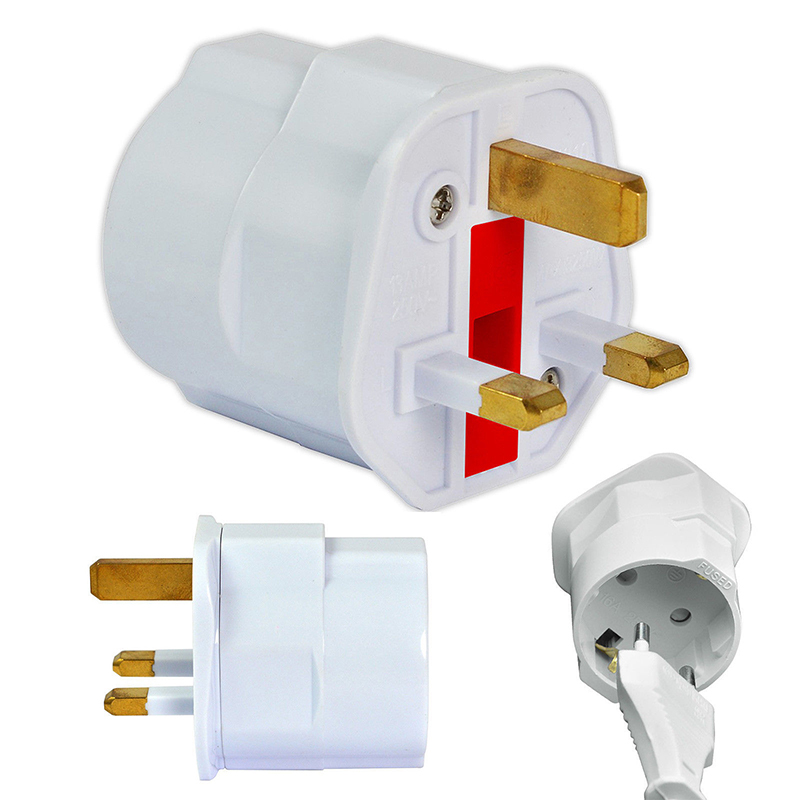 EU Euro 2 Pin to UK 3 Pin Plug AC Universal Adapter Travel Converter European 250V 16A Travel Adapter