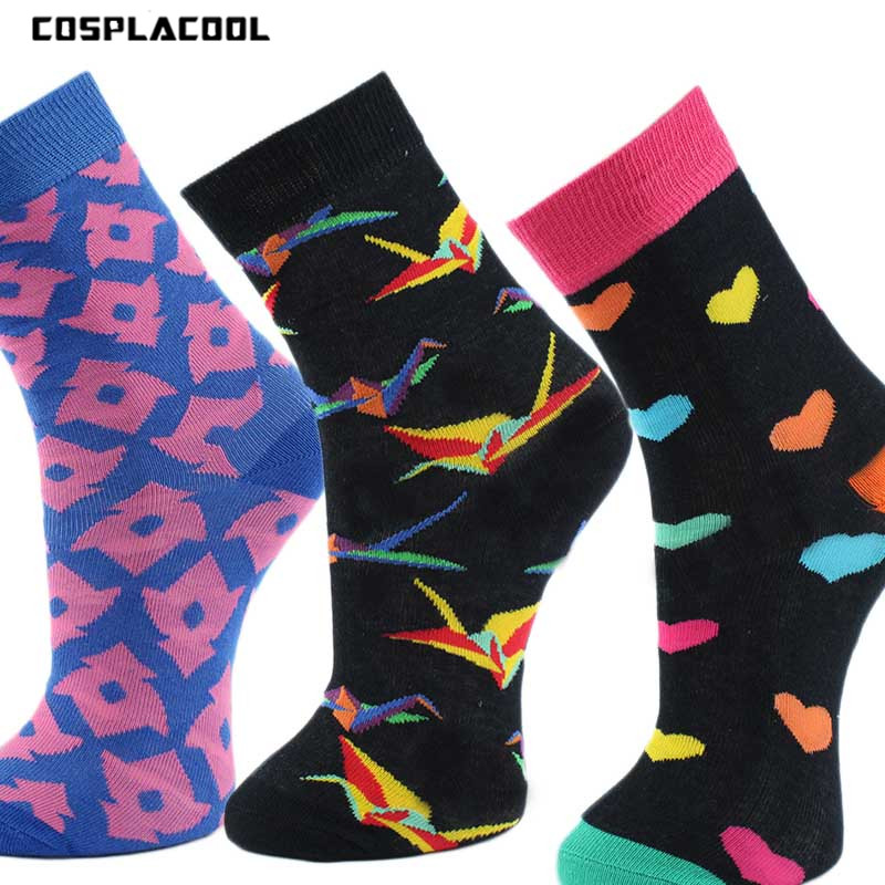 [COSPLACOOL]Skateboard Papercranes Happy Men Socks Casual Fashion Cotton Unisex Meias Breathable Harajuku Calcetines Hombre
