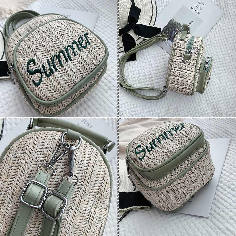 Herald Fashion Jerami Wanita Ransel Menenun Hollow Summer Beach Girls' Satchel Sekolahnya Perempuan Mini Kecil Tas Ransel