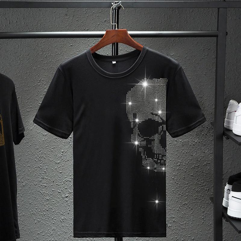 Men's SKull Head Diamond  T-Shirt Mens Hip Hop Rock Hipster T Shirt