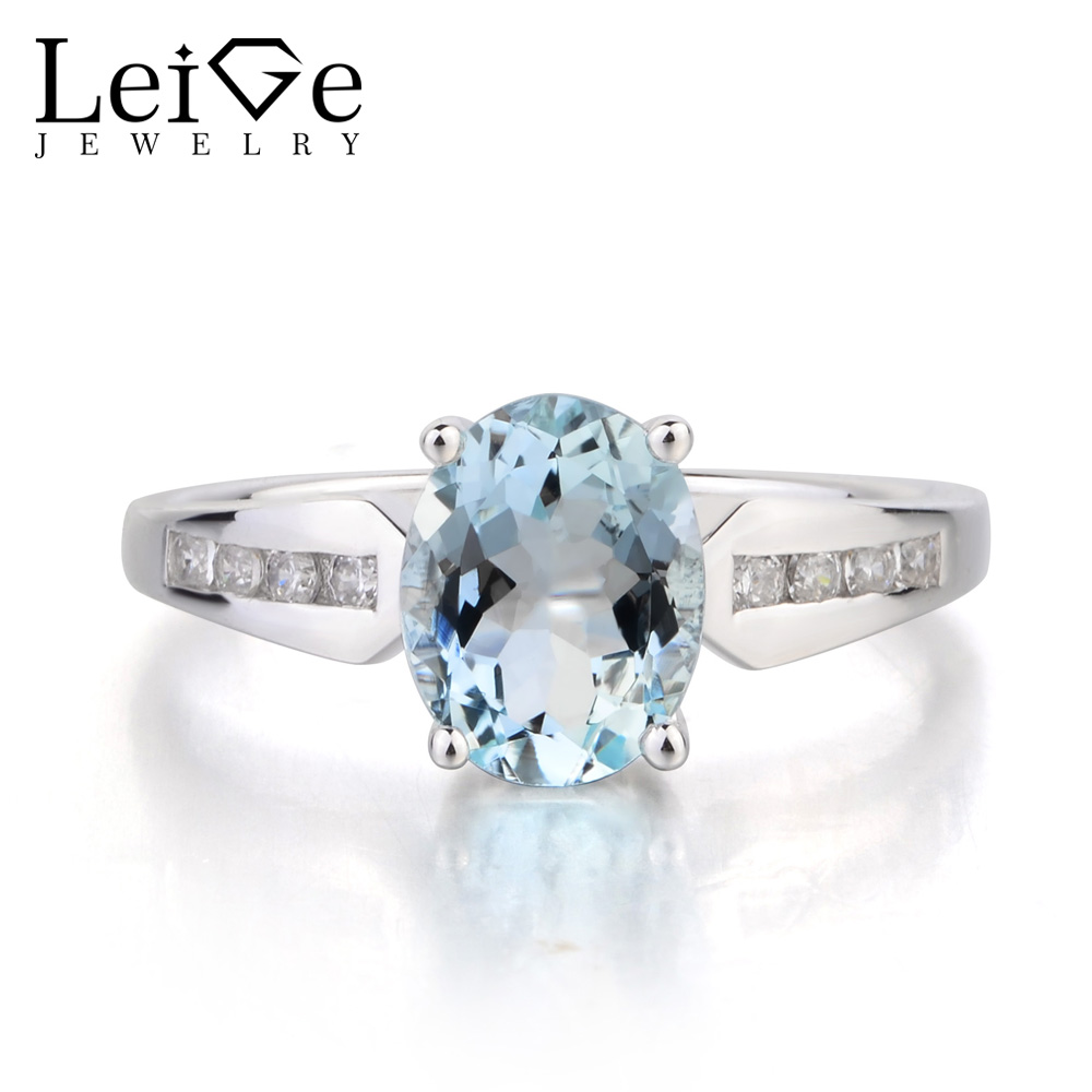 Leige Jewelry Engagement Ring Natural Aquamarine Ring Genuine 925 Sterling Silver Ring Oval Cut Gemstone March Birthstone Gifts