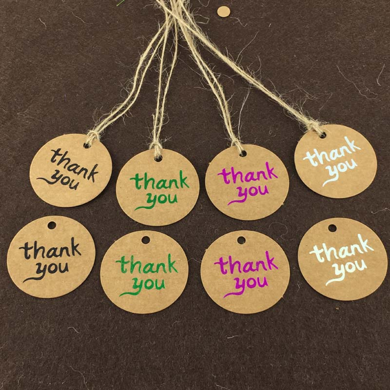 400pcs 4cm Round THANK YOU Label Retro Kraft Paper Tags Gift Tag Bookmarks DIY Wedding Party Gifts Deco+400pcs strings