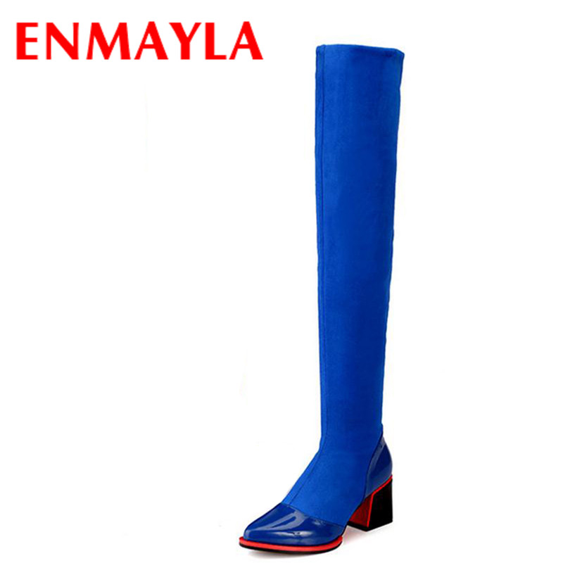 ENMAYLA Winter Autumn Stretch Fabric Thigh High Boots Women Sexy Pointed Toe Long Boots Med Heels Over the Knee High Boots Women enmayla winter autumn high heels lace up knee high boots women shoes sewing green brown black knigh long boots