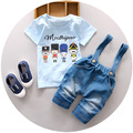 Niños Babi Niños Niños de Manga Corta A Rayas Patrón Encantador de la Historieta de La Camiseta + Pantalones Cortos Babero Mono Mameluco Trajes Sistemas de la Ropa