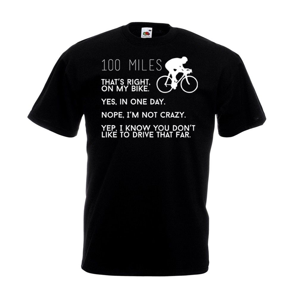 Miles T Shirt Cyclinger Century Charity Bikeer Ride Fathers Day Gift Top Road Fashion 100% Cotton T-Shirt Western Style