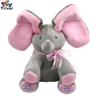 30cm Top Quality Plush Animated Flappy Elephant Toy PEEK A BOO Singing Baby Music Toys Ears