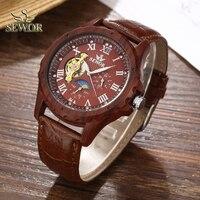 SEWOR luksusowej marki mężczyzna 2019 moda imitacja drewna Metal skórzany pasek Tourbillion automatyczny zegarek mężczyźni Sport Watch C324 w Zegarki mechaniczne od Zegarki na