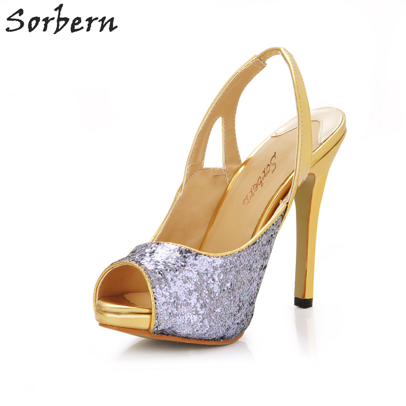 цены Sorbern Silver Sequined Cloth Women Sandals Shoes Back Strap Woman Sandals 2018 Summer Custom Color Sandalias Mujer Shoes