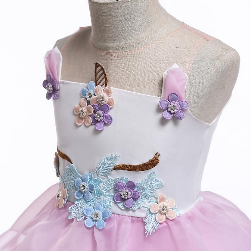 Image 5 - Girls Unicorn Flowers Cake Tutu Dresses With Beadbad for Kids Princess Fancy Birthday Theme Party Costumes 1 10 Years Pink BlueGirls Costumes   -
