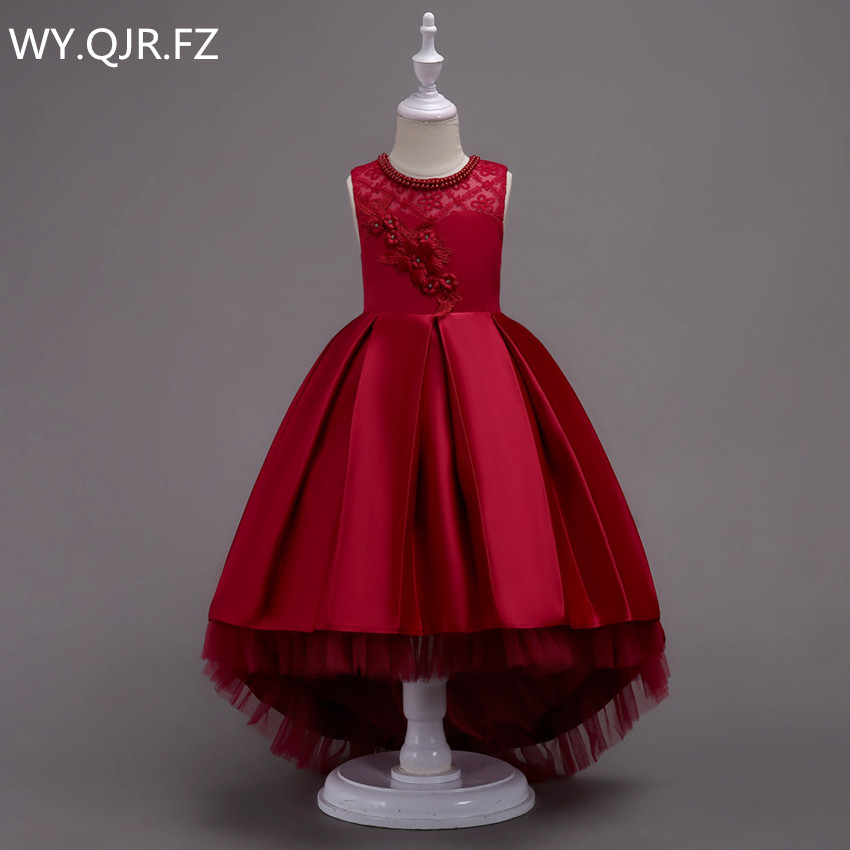 BH580#Burgundy Trailing Lace   Flower     Girl     Dresses   party prom Children's performance   dress   wholesale European American fashion