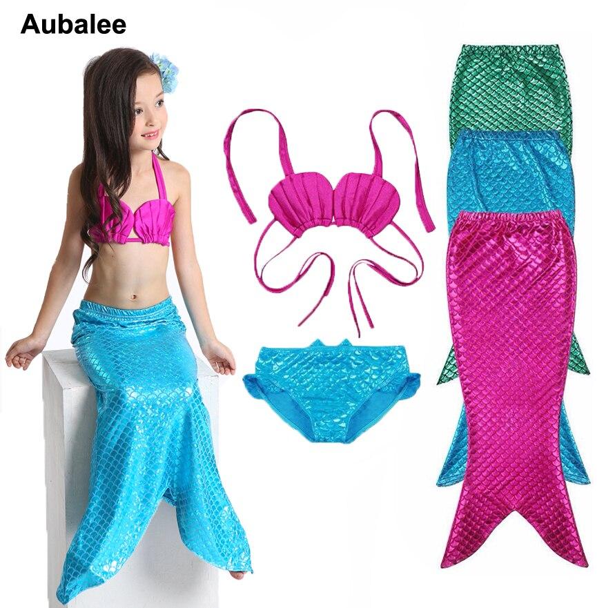 New 3PCS Girls Kids Little Mermaid Tail Swimmable Bikini Set Bathing Suit Child Beach Ariel Princess Swimsuit Fancy Costume 3-9Y