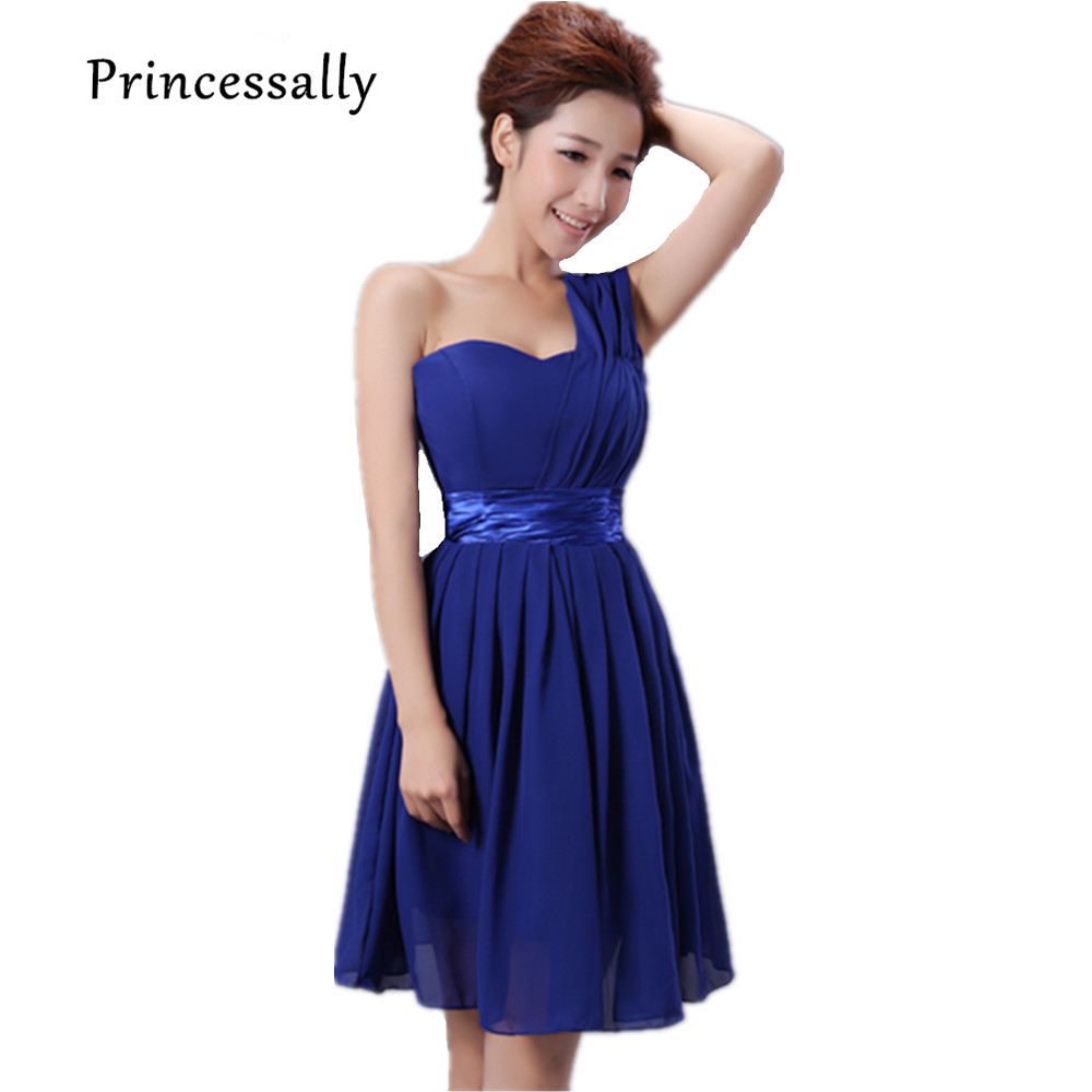 Bridesmaid dress chiffon picture more detailed picture about royal blue bridesmaid dresses chiffon short one shoulder with shining waist band cheap cute prom party ombrellifo Gallery