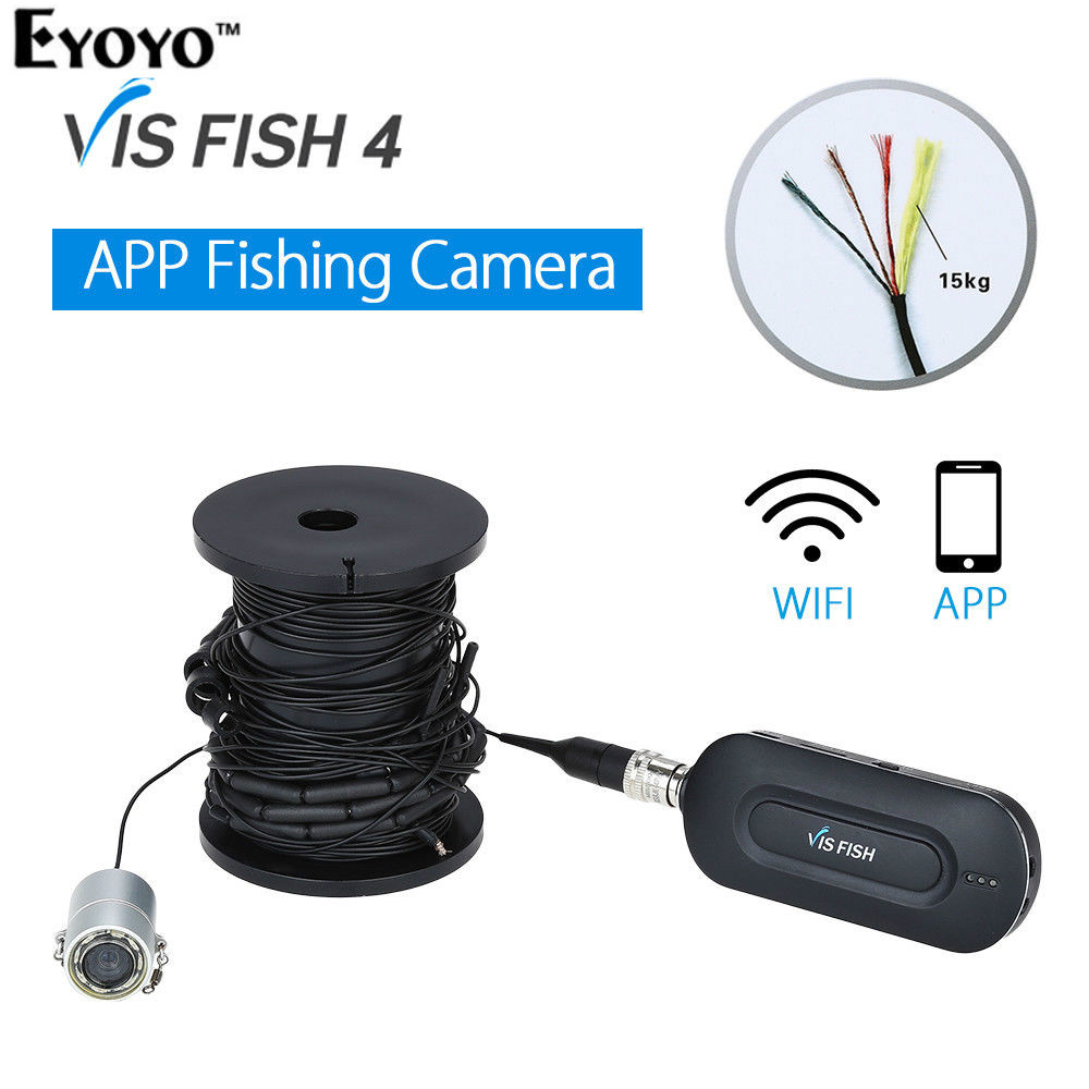 EYOYO Wirless APP Fish Finder Underwater 90degree 10M Fishing Camera DVR Video Recorder Waterproof Night Vision Fishfinder 2 4g wireless fish finder underwater fishing camera video free soft app 50m underwater breeding monitoring for fish searching