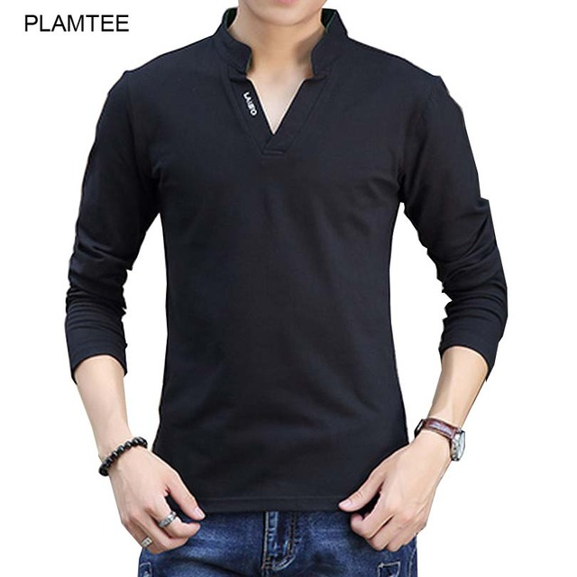 Black V Neck Polo Shirts Solid Plus Size M-5XL Tops for Men's Polo Shirt Long Sleeve Autumn Tees Hombre Soft Fitness Polo Blouse