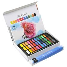 36Color Solid Watercolor Paint Set With Water Brush Pen Water Color Pigment Gift/Box Set for Artist Drawing Art Supplies 21 colors solid watercolor palette pigment powder paint set with water brush watercolor paper watercolor pen watercolors box set
