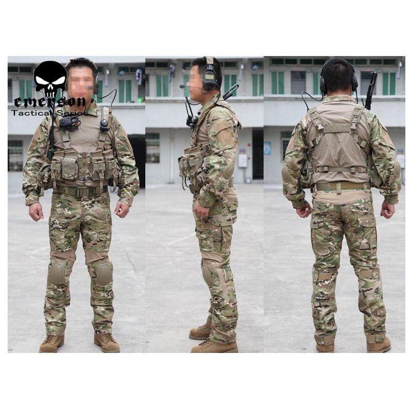 USMC A-TACS Camo tactique Airsoft uniformes EMERSON-II génération grenouille serré combat camouflage costumes ensemble de vêtements