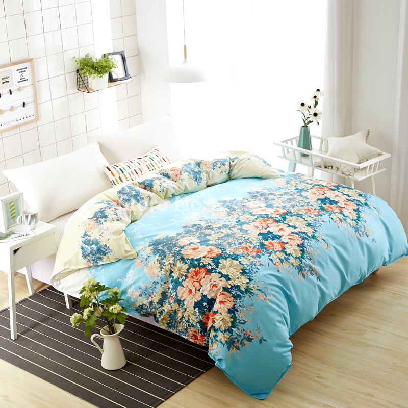 Green Flower Printing Duvet Cover New Design 150x200cm/180x220cm/200x230cm Skin Care Cotton Quilt Cover for Bedding Bedclothes
