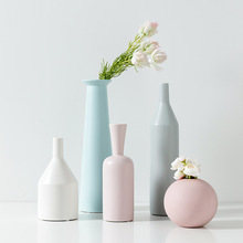Europe Ceramic Tabletop Vase Nordic White Blue Pink Grey Desktop Vases for Flowers Garden Flowerpot Decoration Home Decor