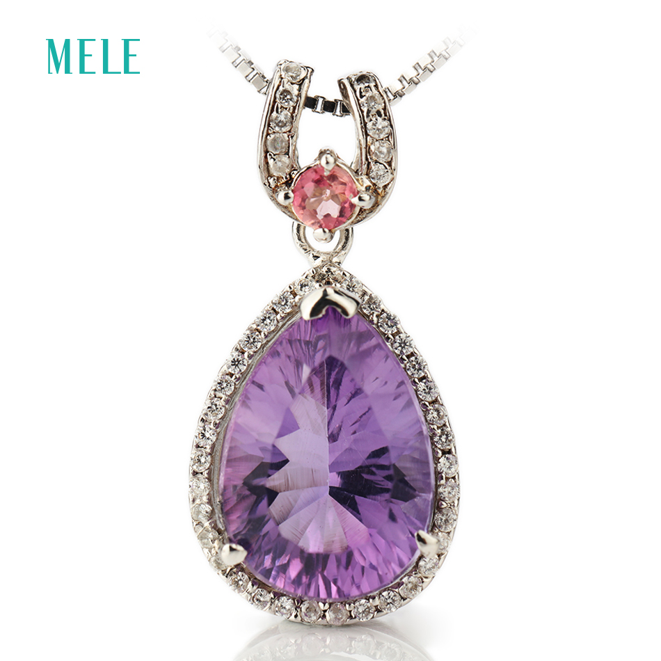 Natural amethyst silver pendant, pears 10mm*14mm with bright tourmalines, all clean amethyst and full cutting fireNatural amethyst silver pendant, pears 10mm*14mm with bright tourmalines, all clean amethyst and full cutting fire
