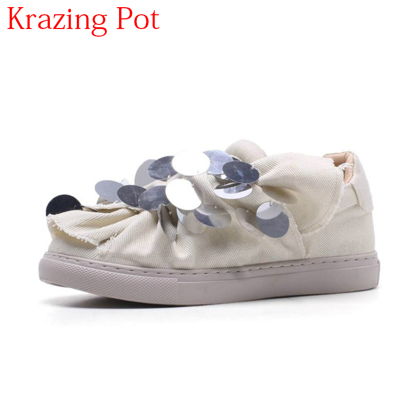 2018 Round Toe Glitter Slip on Causal Shoes Loafer Sweet Low Heels Platform Sneaker Sexy Thick Bottom Women Vulcanized Shoes L07