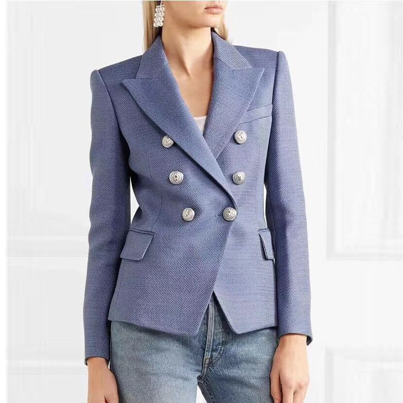HIGH QUALITY Newest Fashion 2019 Designer Blazer Women s Double Breasted Lion Buttons Blazer Jacket