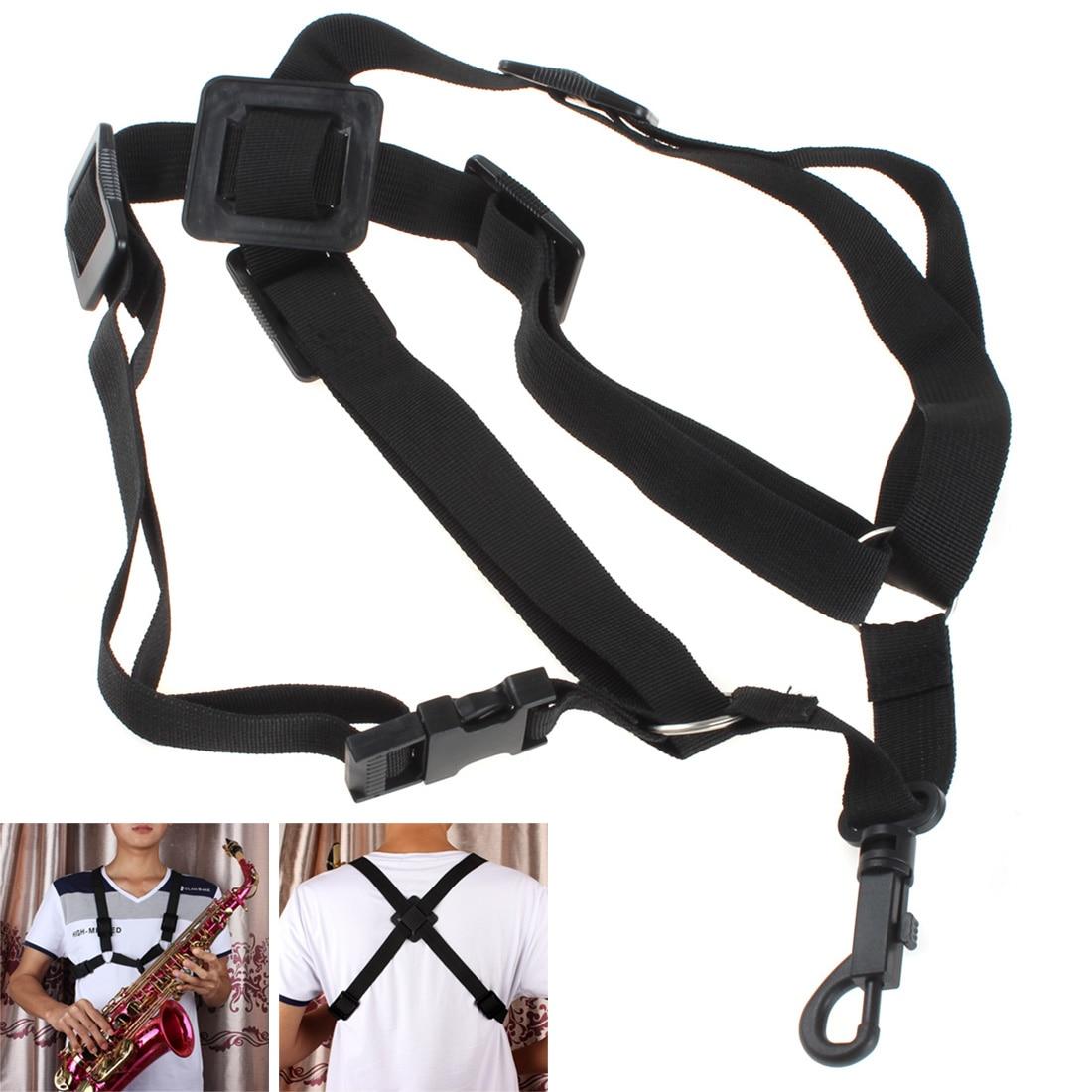 sale black adjustable universal sax harness shoulder strap for alto tenor soprano saxophone. Black Bedroom Furniture Sets. Home Design Ideas