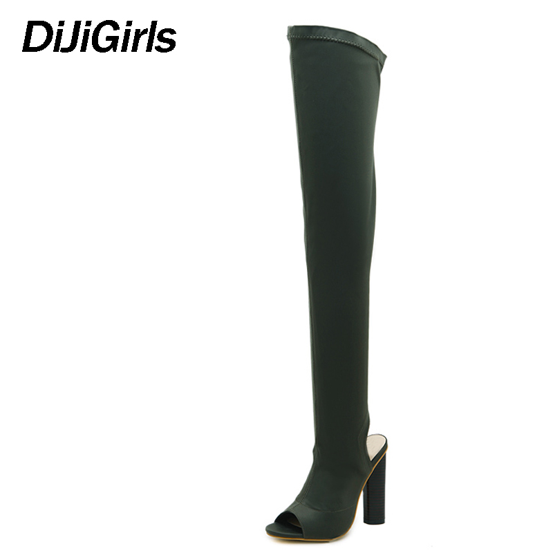 DiJiGirls Women Shoes Over The Knee Boots Sexy Thigh High Boots 2018 Summer Ladies Fashion High Heels Boots Shoes Woman SIZE 42 2017 sexy thick bottom women s over the knee snow boots leather fashion ladies winter flats shoes woman thigh high long boots