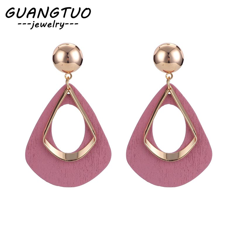 Korean Wooden Drop Earrings Personality Simple Geometric Hollow Water Drop Dangle Brincos EB152