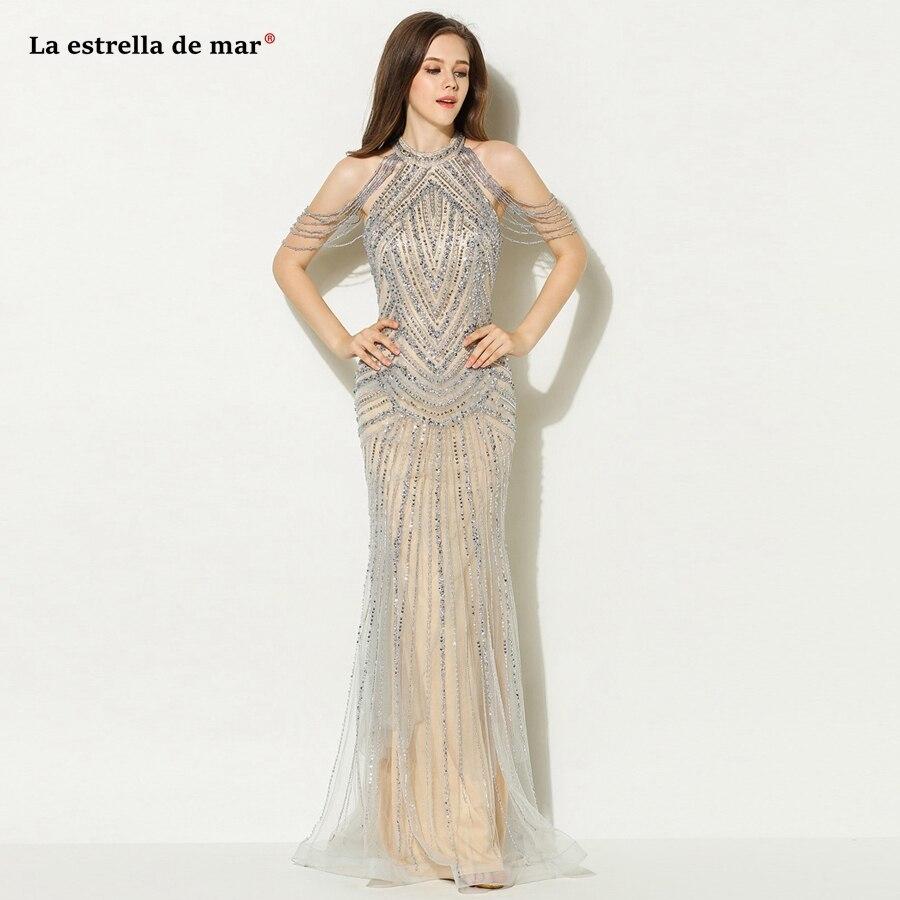 Vestido formatura 2018 new crystal tassel round neck champagne sexy mermaid   prom     dress   long luxury elegant gala   dress