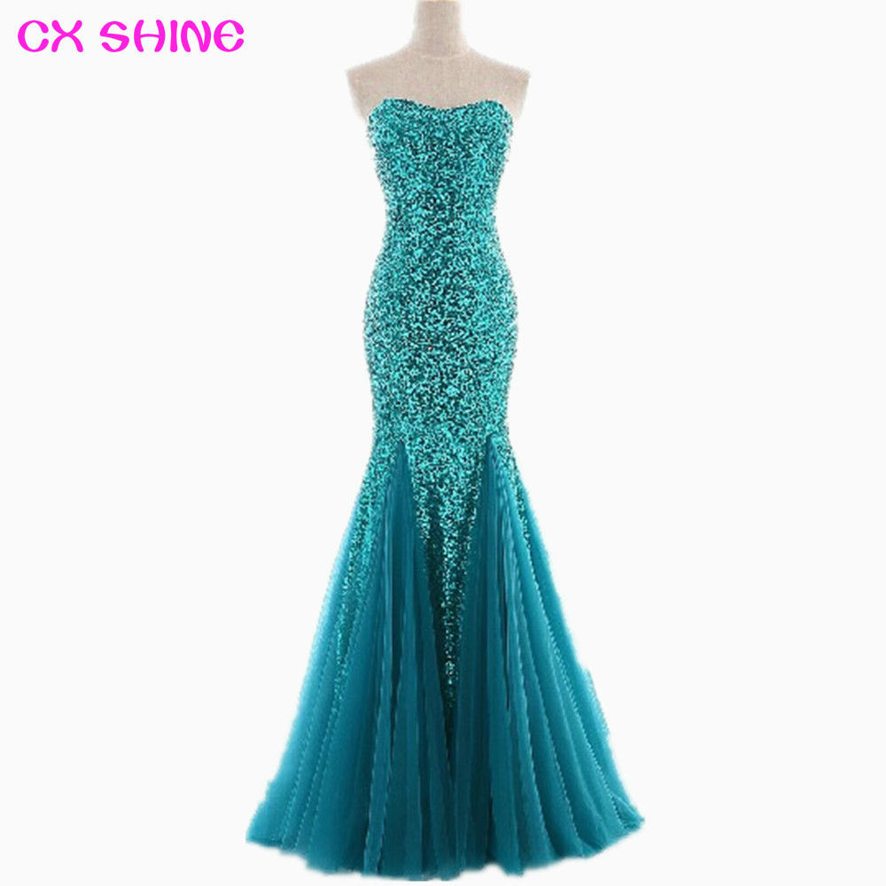 CX SHINE Custom size Trumpet Mermaid Strapless Sequined prom dress ...