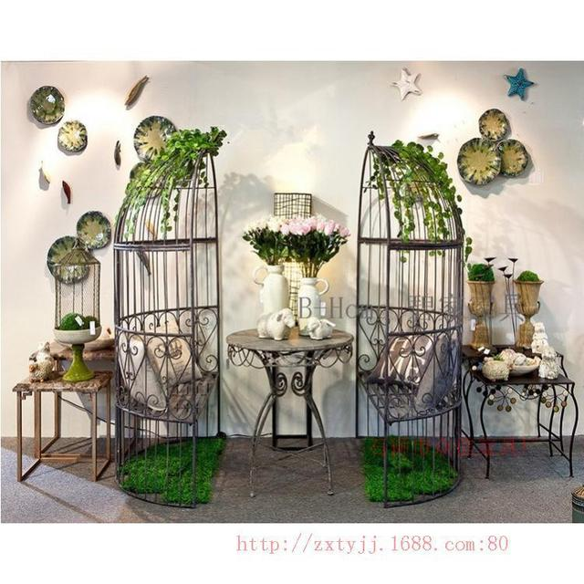 Iron Birdcage Decorative Outdoor Coffee Bar Stool Beach Chair Lounge Chair  Hot Innovative Restaurant Tables And