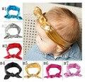 Orejas de Conejo Diadema de oro Para Las Niñas Elasticidad Venda Del Bebé de Lavado de Oro En Stock 7 color