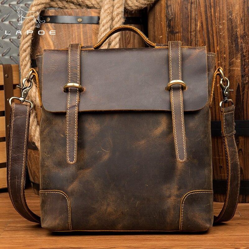 LAPOE Crazy Horse leather Vintage Handbags Business Genuine Leather Men s Hasp Handbags Shoulder Bag Male