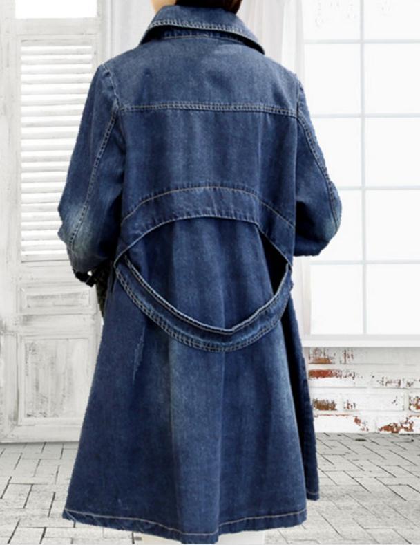 vent Cowboy Moyen Coupe Manteau Coréen 2018 Taille Printemps Lâche Femme Manches Et Nouveau Longueur Longues Bleu Grande Confortable aWctqgBq