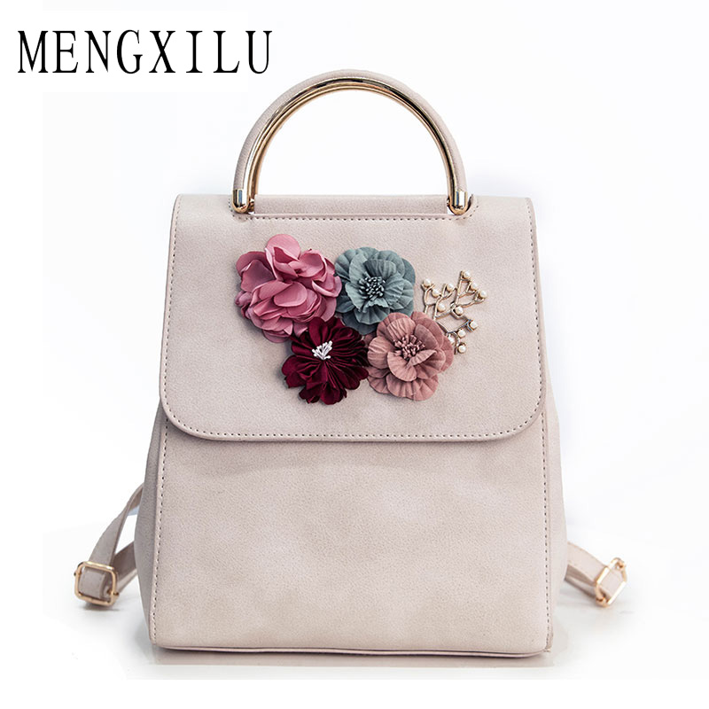 MENGXILU Brand Leather Women Backpack Female Japan and Korean Style Trend Three-dimensional Flower Shoulder Bag Women's Backpack thermal insulation baby diaper bag for stroller waterproof nappy changing bags mommy stroller cart bag cooler bag for mom