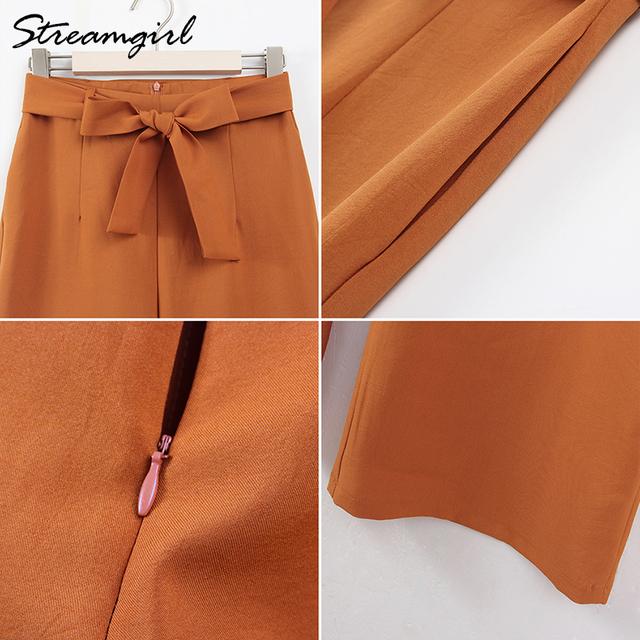 d82d353c Lato Japoński styl kobiety żółte spodnie Wysoka talia tie Stripe pled  bawełniana spodnia