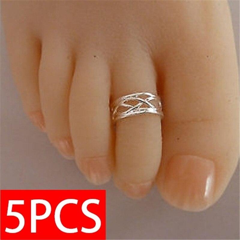 5 шт., кольцо для ног, модное женское элегантное регулируемое кольцо с античным носком, пляжные украшения для ног