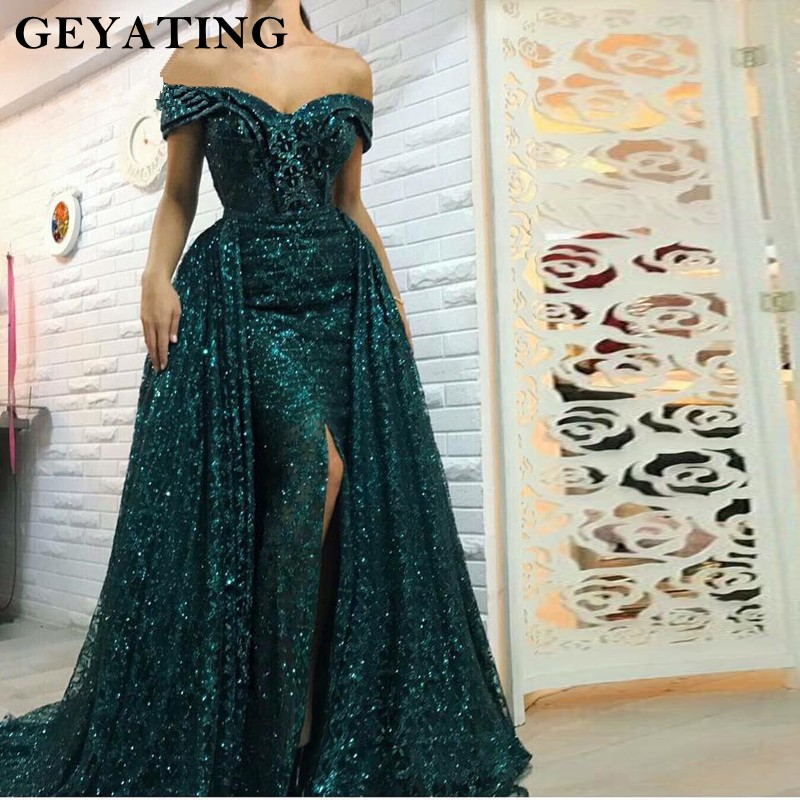 Saudi Arabic Dark Green Mermaid Evening Dress Long Detachable Train Prom Dresses 2019 Dubai Turkish Off Shoulder Evening Gowns(China)