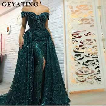 Saudi Arabic Dark Green Mermaid Evening Dress Long Detachable Train Prom Dresses 2019 Dubai Turkish Off Shoulder Evening Gowns - DISCOUNT ITEM  30% OFF All Category