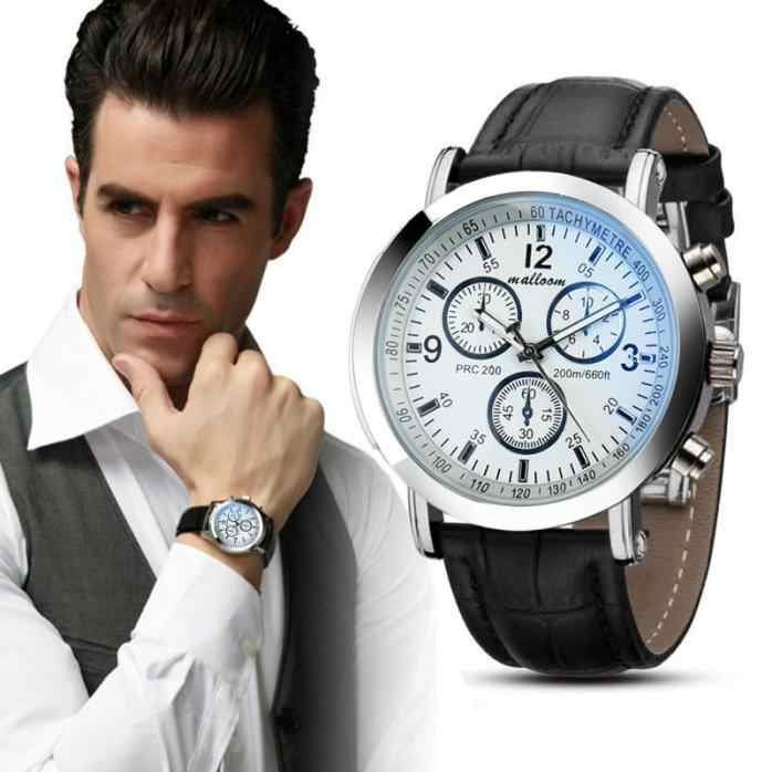 Men Watches 2018 luxury brand hot Faux Leather Mens Blue Ray Glass Quartz Analog Watches Sport relogio masculino