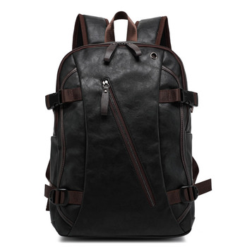 Fashion Leather Backpack Men  School Bags for Teenage Boys  Students Male Female Black Leather Travel Bagpack
