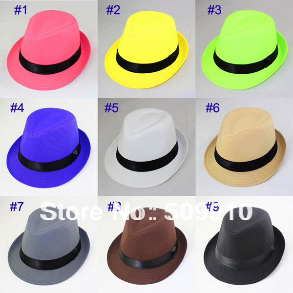 Hot sale Fashion Spring Autumn Baby Fedora Hat Children Pure Color Jazz cap  Kids Top Hat 1pc Sample 9 Colors Free shipping 24afa80a407f