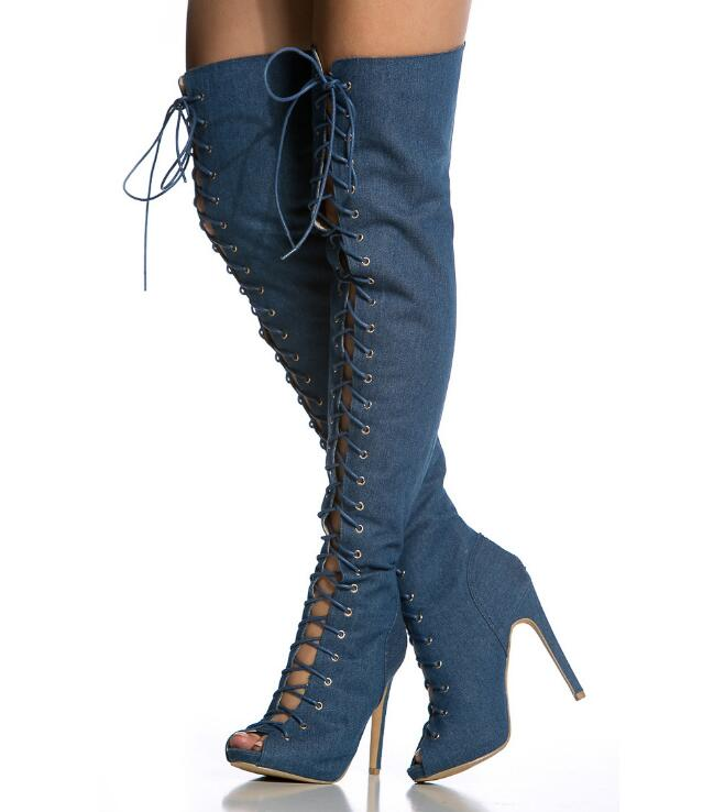 Newest Denim High Heel Boots Women Peep Toe Cross-tied Long Boots Spring Over-the-Knee Thin Heels Shoes Large Size Party Shoes 2018 spring sexy women ripped denim over the knee boots thin high heels night club shoes peep toe platform footwear large size