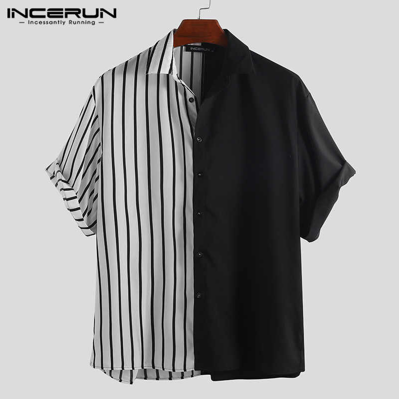 INCERUN Fashion Striped Patchwork Men Shirt Personality Short Sleeve Loose Button Up Hip-hop Casual Brand Shirts Men Blouse 2019