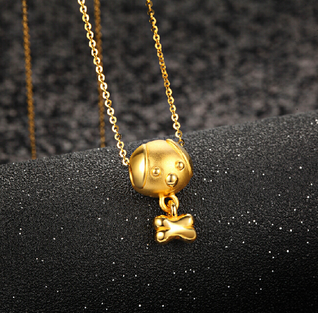 Hot sale New Pure 24K Yellow Gold Pendant 3D Cute Dog Bone Pendant 1.08g new pure au750 rose gold love ring lucky cute letter ring 1 13 1 23g hot sale