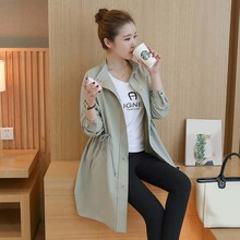 Pregnant women clothing new style fashion windbreaker long pregnant lady jacket loose self cultivation coat for